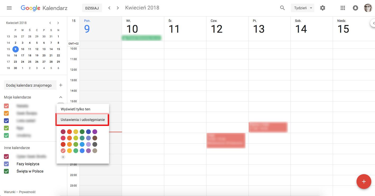 jak korzystać z kalendarza google udostępnianie