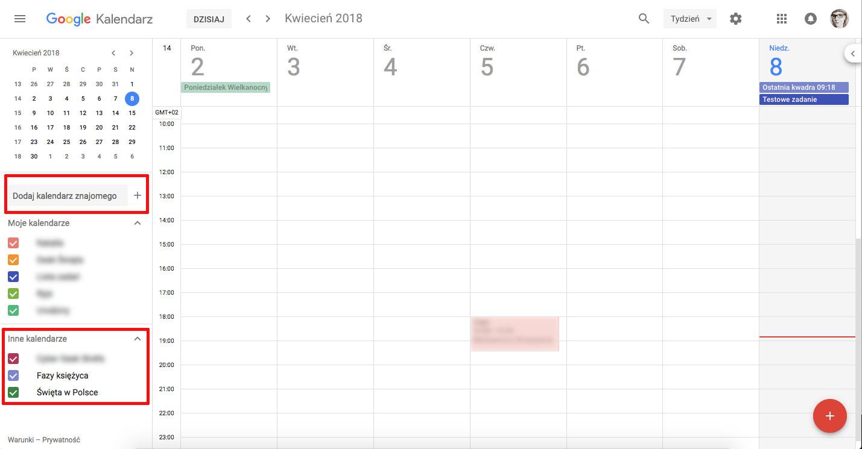 jak korzystać z kalendarza google dodaj kalendarz znajomego