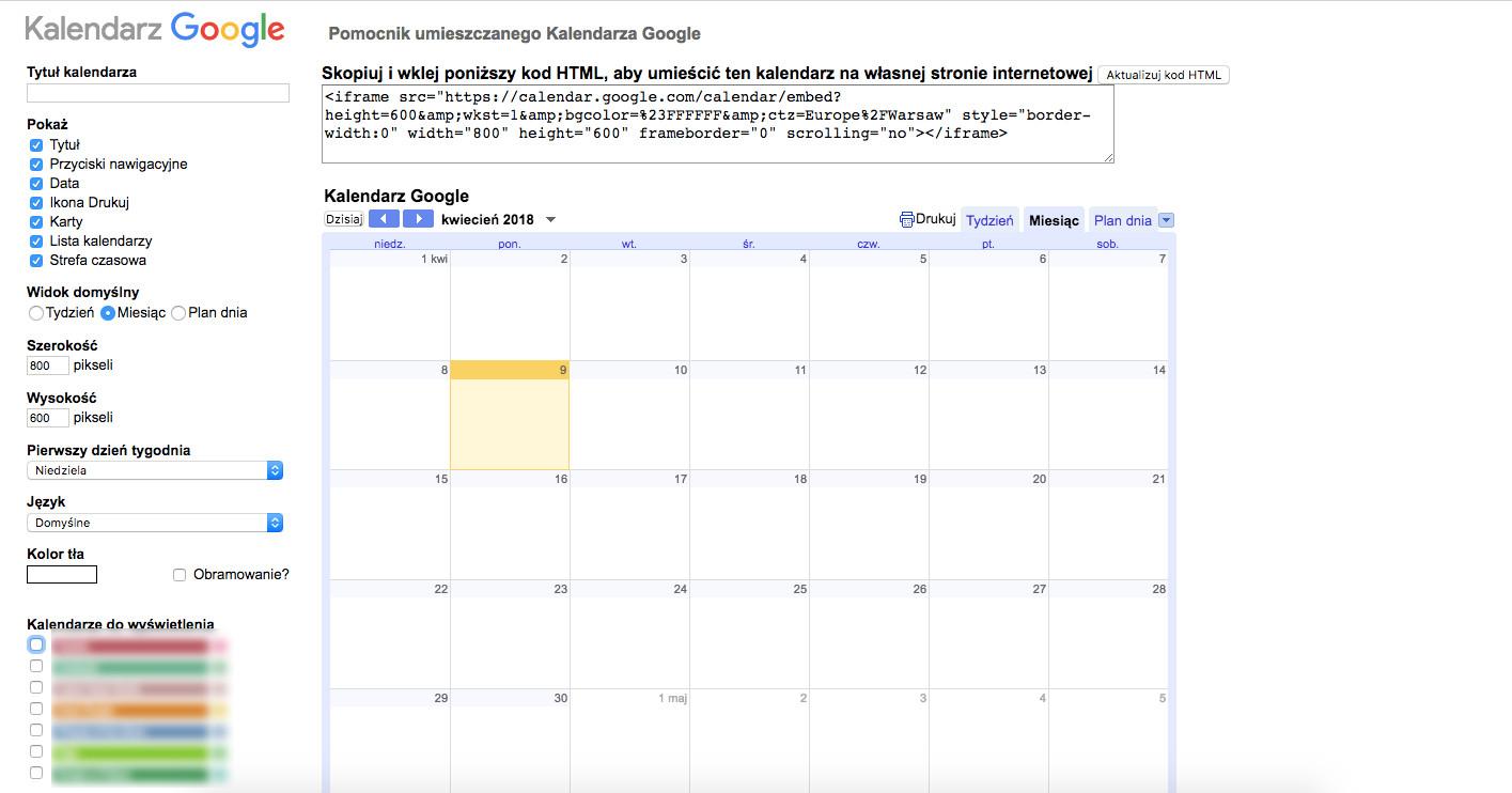 jak korzystać z kalendarza google embed