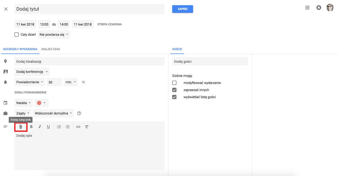 jak korzystać z kalendarza google załącznik