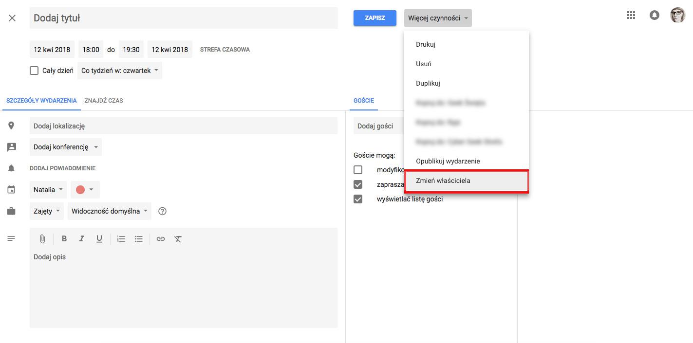 jak korzystać z kalendarza google zmień właściciela